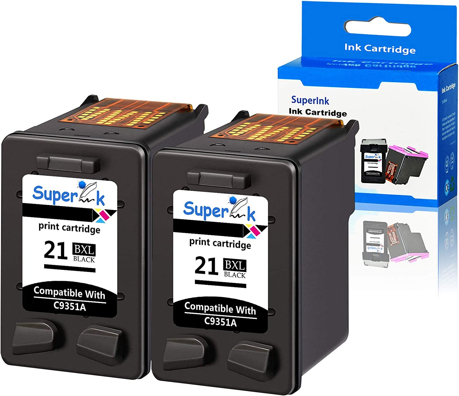 SuperInk 2 Pack 475 Pages High Yield C9351A 21XL Compatible for HP 21 Remanufactured Ink Cartridge DeskJet D1320 D1330 D1341 D1360 D1368 D1400 D1415 D1420