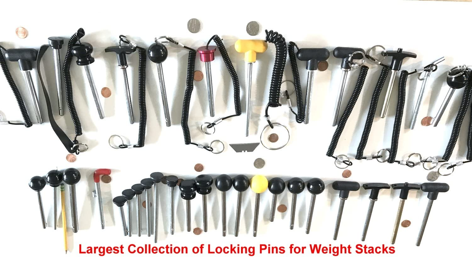 """SB DISTRIBUTION LTD SBDs World Class Heavy Duty L Pin W//Red Sleeve Chrome Detent Hitch PINS Locking Space 7-1//8/"""" Overall Length for 20LB Selector Plates 4/"""" 3//8/"""" Diameter X 100 MM"""