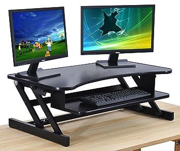Wonderful Standing Desk   Adjustable Height Desk Riser   Sturdy 32in. Wide Sit Stand  Up Desk