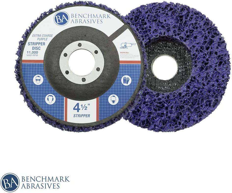 5 Pack - 4.5-Inch x 7/8-Inch Benchmark Abrasives Easy Strip Discs Clean & Remove Paint, Rust and Oxidation (Extra Coarse) 71F2D9sGH0L