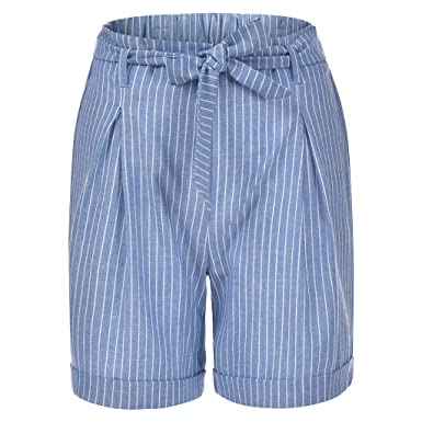 RISTHY Pantalones Cortos de Lino Mujer Básicos Gimnasio Pantalones ...