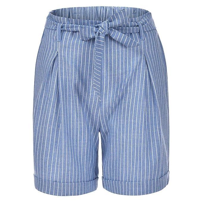 RISTHY Pantalones Cortos de Lino Mujer Básicos Gimnasio ...