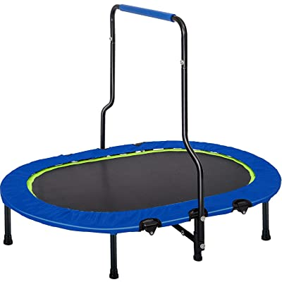 KALDOREI Kids Trampolines 55x 35.5 Portable Fitness Trampoline Foldable No-Spring Elastic Band Oval Trampoline with Handrail and Safety Cover for Indoor/Outdoor/Garden Workout, Weight Capacity 180 lbs : Sports & Outdoors