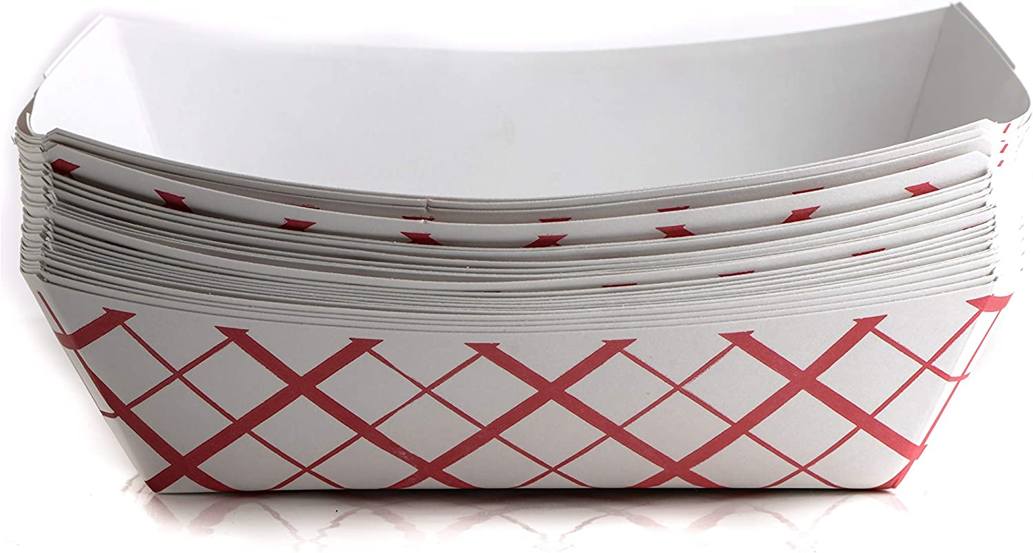 500ct Heavy Duty Disposable Paper Food Tray (3 LB) - Red Check Food Tray, USA MADE, Recyclable, Biodegradable, Compostable, Great for Picnics, Carnivals, Party, Camping, BBQ, Restaurants, Fries