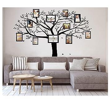 LUCKKYY Stickers Muraux Bdecoll   Noirs   Avec Cadres Photo Pour Motif Arbre  De Famille