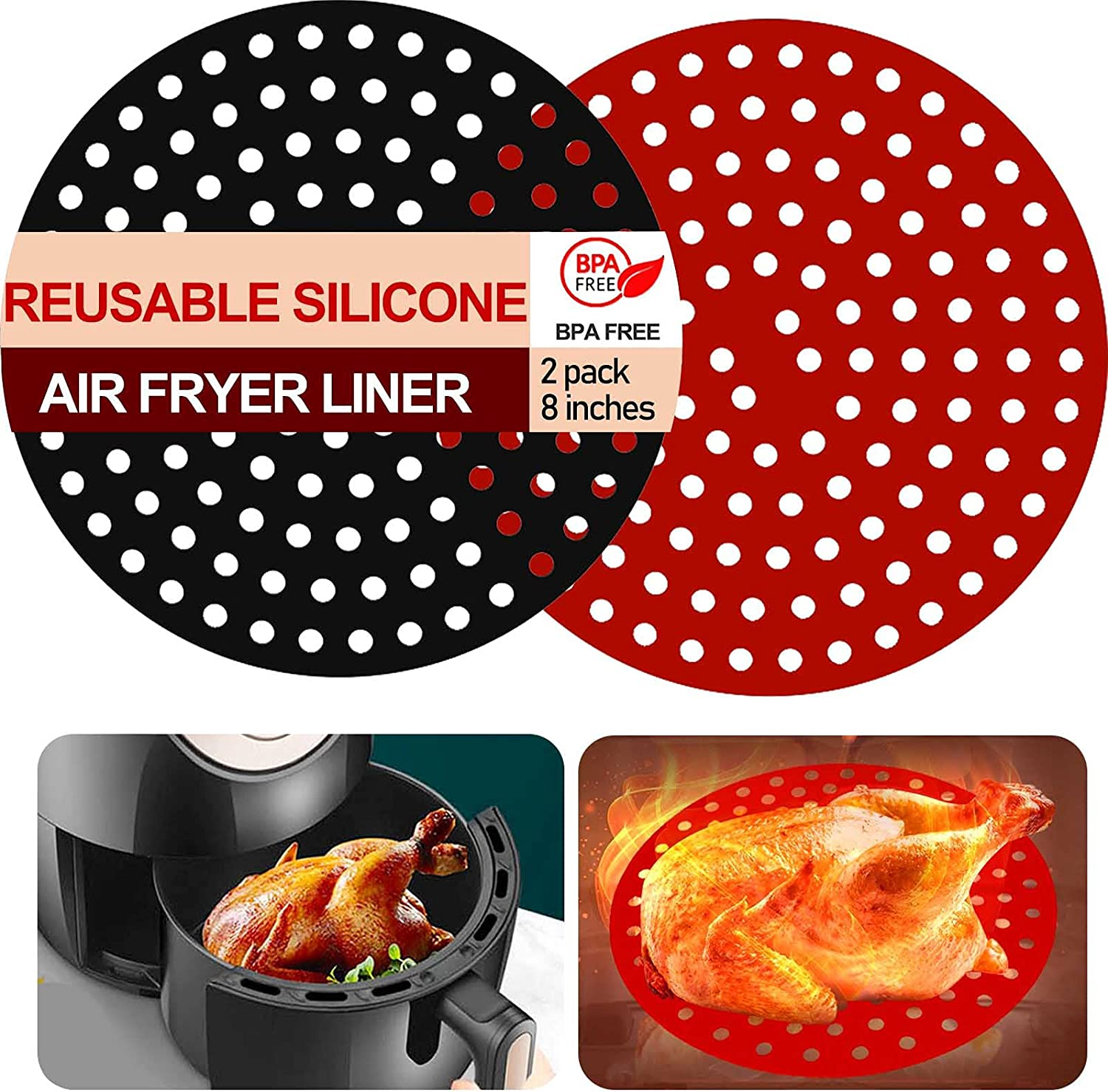 Connfiton Reusable Air Fryer Liners silicone,8 inch Round,Non-Stick Silicone Air Fryer Basket Mats,Air Fryer Accessories For Ninja,Gourmia,Power XL,GoWise,Chefman,NuWave,and More,BPA Free -2 Pcs