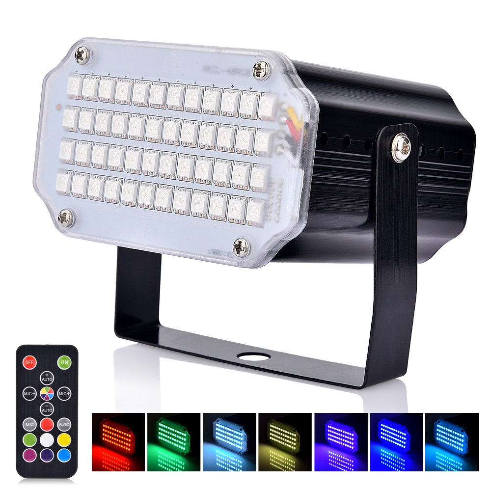 Hisome Halloween LED Mini Strobe Light, Flash Party Stage Sound Activated Lamps, 48 RGB Speed Control Lights for DJ Disco Clubs Birthday Wedding Dance Parties, Christmas by Hisome