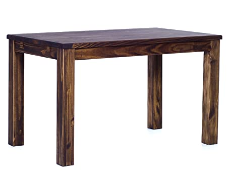 Brazilfurniture Dining Table Rio Pine Dark Brown Solid Wood, Extensions Optional Extendable, Rectangular Shape and Standard Height, 47.2 x 31.5 Inches, Oak Antique Office Conference Desk Kitchen