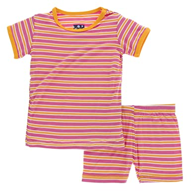 6aaead952 Kickee Pants Bamboo Short Sleeve Pajama Set with Shorts (Flamingo ...