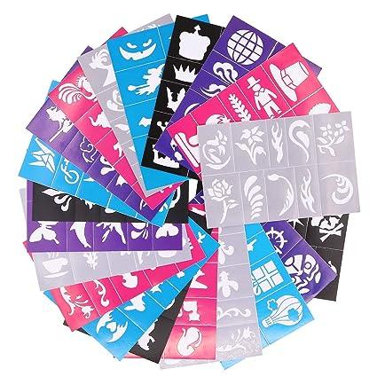 7d07a1b99 Kit de plantillas de pintura facial y corporal reutilizables, plantillas de  tatuaje, purpurina, tatuajes temporales para niños, escuela, ...