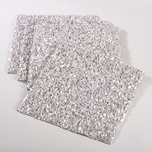 Gramercy Handmade Beaded Design Placemat - These square silver placemats will make a holiday table sparkle! | http://christmastablescapedecor.com/elegant-silver-table-setting/