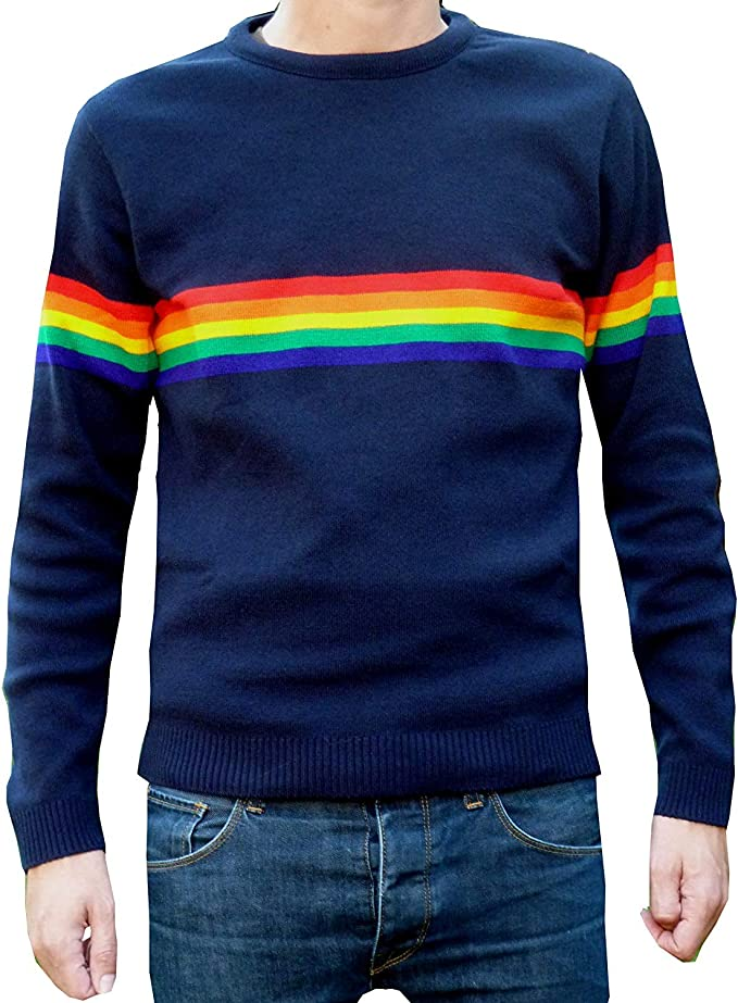 Men's Vintage Sweaters, Retro Jumpers 1920s to 1980s Fuzzdandy Mens Rainbow Jumper ELO Mod Indie McCartney Navy Blue 70s £27.90 AT vintagedancer.com