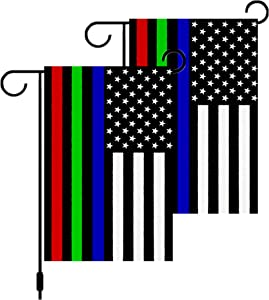2 Pack Double Sided Thin Blue Green and Red Line USA Flags Garden Flags,Patriotic American Honoring Police Military and Fire Officers Flags 12