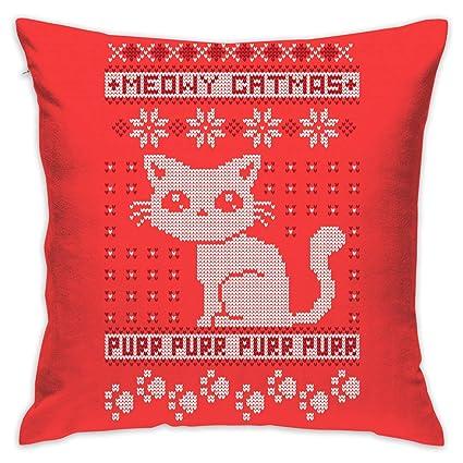 Amazon.com: Li Chunxu Merry X-mas Cat Gift Throw Pillow Case ...