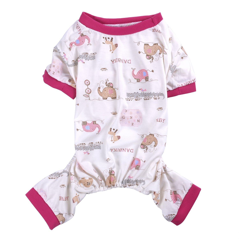 Woo Woo Pets Spring/Summer Cute Printed Pet Dog Pajamas Dog Shirt Cozy Soft Dog Clothes Rose Red S
