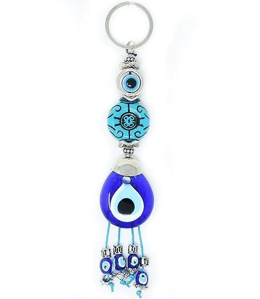 Evil Eye Keychain Set Women & Men Turkish Greek Key Rings Protection Lucky Charm