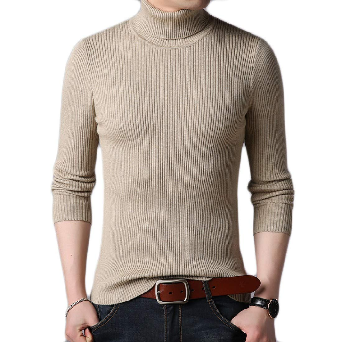 VITryst-Men Thick Knitwear Warm Solid Top Pullover Sweater