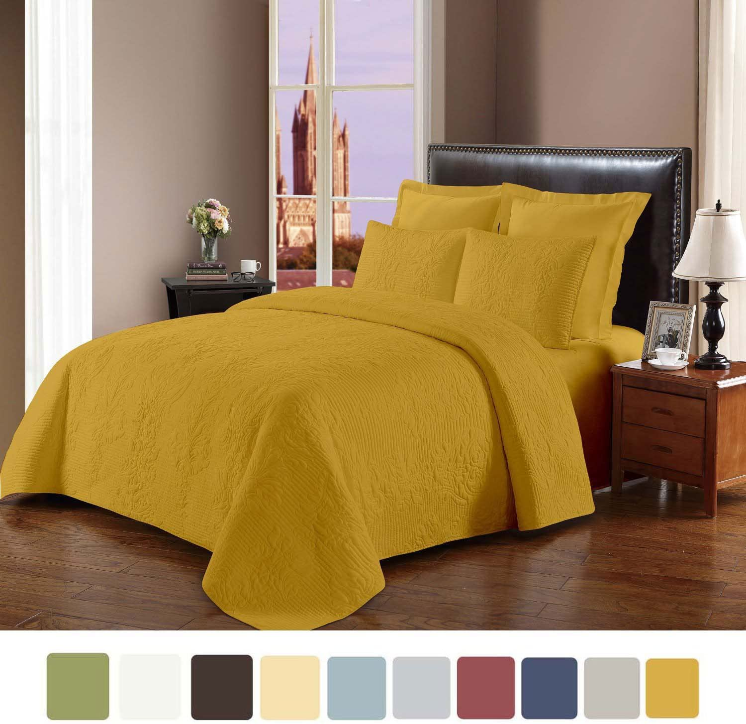 NC Home Fashions Prewashed Quilt Set (Full/Queen, Bright Yellow) - Cameo Stitched Pattern Bedspread Set - Hypoallergenic Microfiber Comfortable Coverlet Set for All Seasons - 3 Pieces