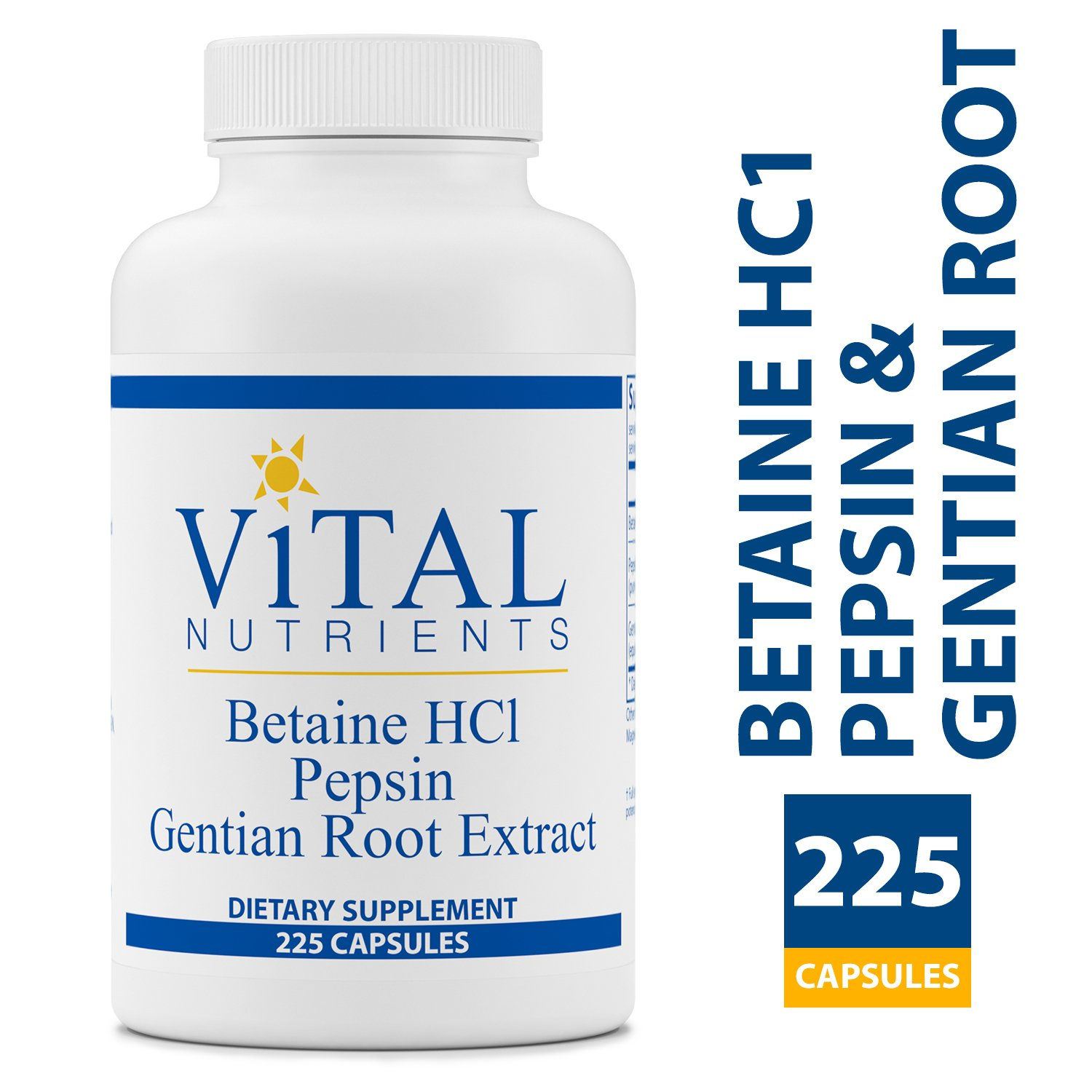 Vital Nutrients - Betaine HCL Pepsin & Gentian Root Extract - Powerful Digestive Support for the Stomach - Gluten Free - 225 Capsules