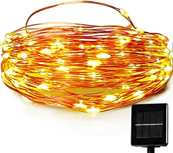 Solar Christmas String Lights,easyDecor Copper Wire 100 LED 33ft Warm White 8mode Waterproof Decorative Starry Fairy Rope for Outdoor,Indoor,Party,Patio,Garden,Holiday,Wedding,