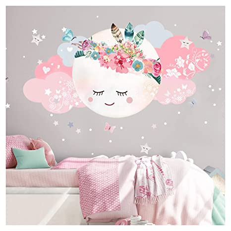 Little Deco Wandsticker Kinderzimmer Mädchen Mond & Wolken IM - 40 x 20 cm  (BxH) I Wandtattoo Babyzimmer selbstklebend Wandaufkleber Sterne Blumen ...