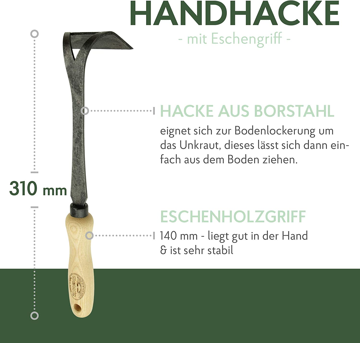 Made in Holland DeWit Hand Hoe 31cm I Professional Boron Steel Garden Hoe Premium Weed Removal /& Cultivation Garden Accessories I Handmade Garden Tools