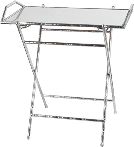 Privilege Folding Tray Leaf Table, Silver