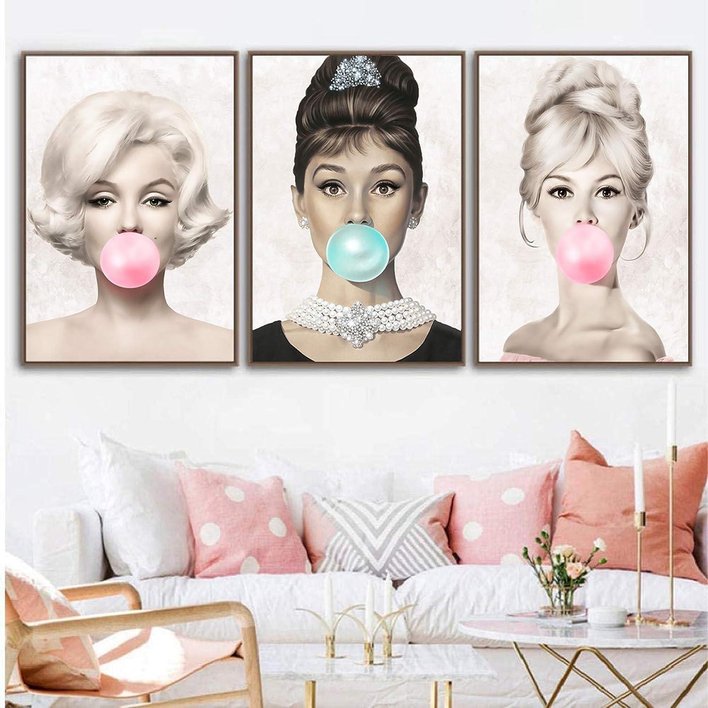 3PCS Audrey Hepburn Bubble Gum Canvas Wall Art Marilyn Monroe Canvas Wall Decor Brigitte Bardot Poster Print on Canvas Home Decor Famous Actresses Portrait Canvas Painting for Bedroom Decor Frameless