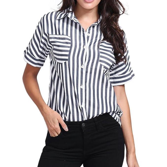 PAOLIAN Blusa de Mujer Verano 2018 Blusa Estampado de Rayas Manga Cortas Ropa para Mujer Camisetas Ancho Baratas Cuello de Solapa Camisas con Botones Otoño ...