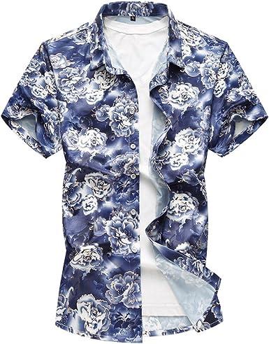 WanYangg Hombre Camisas Hawaianas Vintage Casual Camisa Manga ...