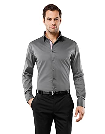 Vincenzo Boretti Herren-Hemd bügelfrei 100% Baumwolle Slim-fit tailliert Uni -Farben - Männer lang-arm Hemden für Anzug mit Krawatte Business Hochzeit  ... 71e4e8a707