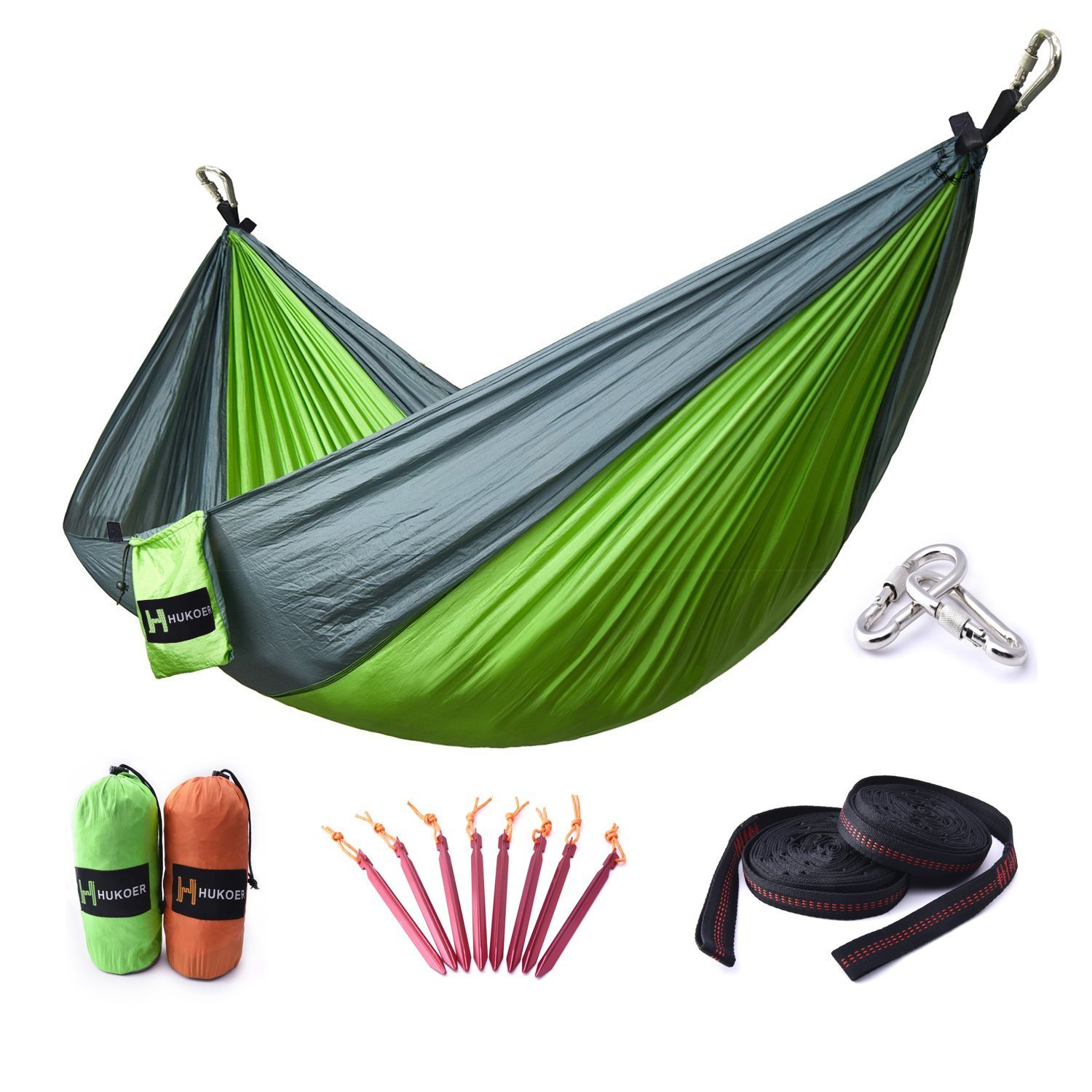HUKOER Hammock Double Camping Hammock Portable Nylon Garden Hammock with Straps/Stakes Max 550 lbs Capacity for Backpacking, Camping, Travel, Beach, Yard