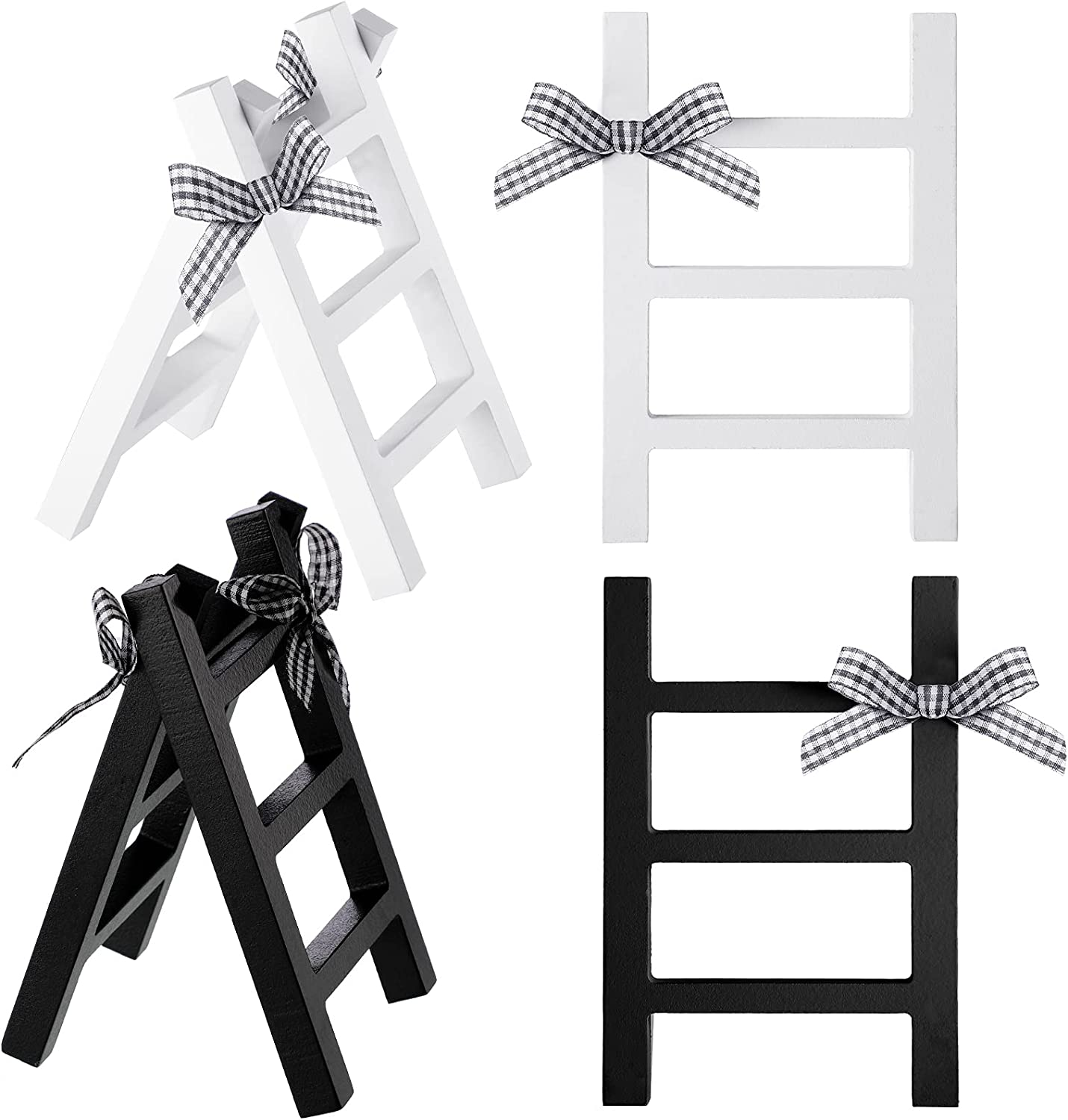 4 Pieces Farmhouse Wooden Ladder Decor Mini Wooden Ladder Mini Wall-Hanging Ladder Decor Summer Rustic Wooden Sign with Black and White Lattice Bow for Tiered Tray Home Kitchen Shelf Photo Prop