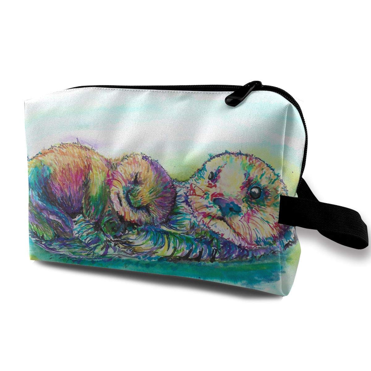 Watercolor Otter Small Travel Toiletry Bag Super Light Toiletry Organizer for Overnight Trip Bag