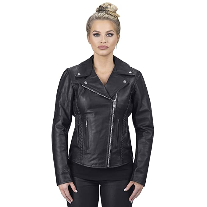Viking Cycle Cruise Motorcycle Jacket for Women (Small, Black)