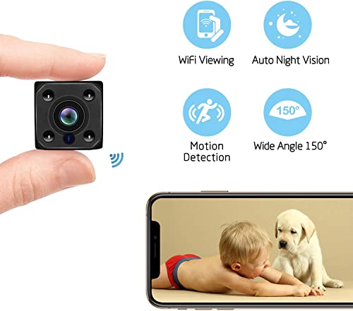 Mini Spy Camera WiFi Hidden Wireless Mini Camera HD 1080P Spy Camera with 140 Degree Wide-Angle View, Night Vision Nanny Cam Motion Detection Home Office Security Suveillance Cameras