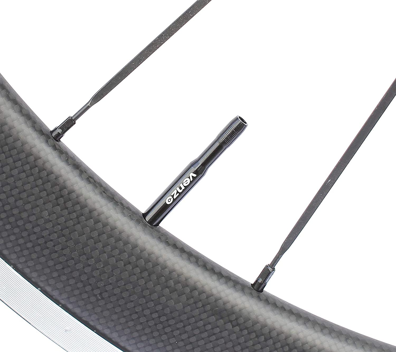 Venzo Bike Bicycle Alloy Presta Valve Extensions 48mm Black