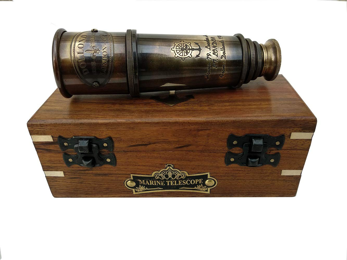 1920 DOLLOND London Brass Maritime Vintage Telescope, Nautical Spyglass Antique Mounted Solid Brass 15 Inch Pirate Telescope with Wooden Box.