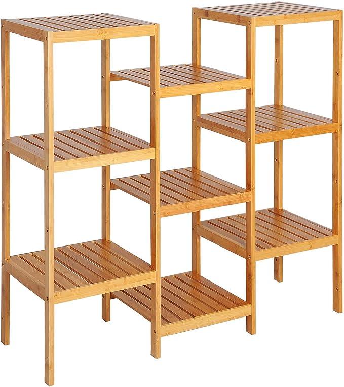 eSituro Estanterías para Baño Cocina de Bambú Librería Estante Escaleras Soporte para Flores Plantas Estante de Pie con 9 Niveles 96.5 x 90 x 33 cm SBSS0016: Amazon.es: Hogar