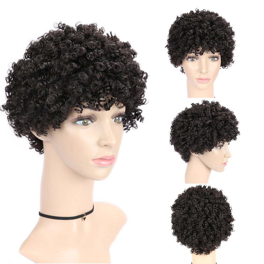 Amazon.com : WIGNEE Remy Human Hair Afro Curly Short Style Wigs (2 ...
