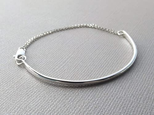 Thick Sterling Silver Filled Bangle  Stacking Bangle  Modern Simple Bracelet  Minimal Silver Bangle