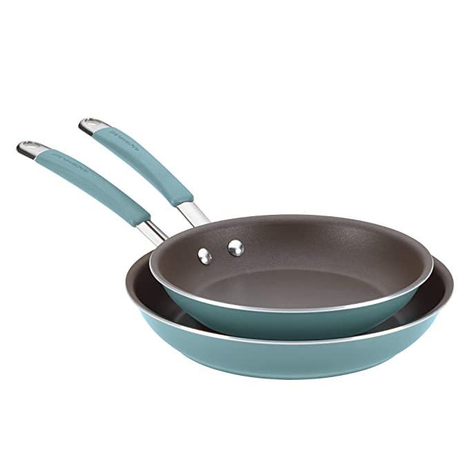 Rachael Ray Cucina Hard Porcelain Enamel Nonstick Skillet, Frying Pan Set, 9.25-Inch and 11-Inch, Agave Blue best nonstick skillet
