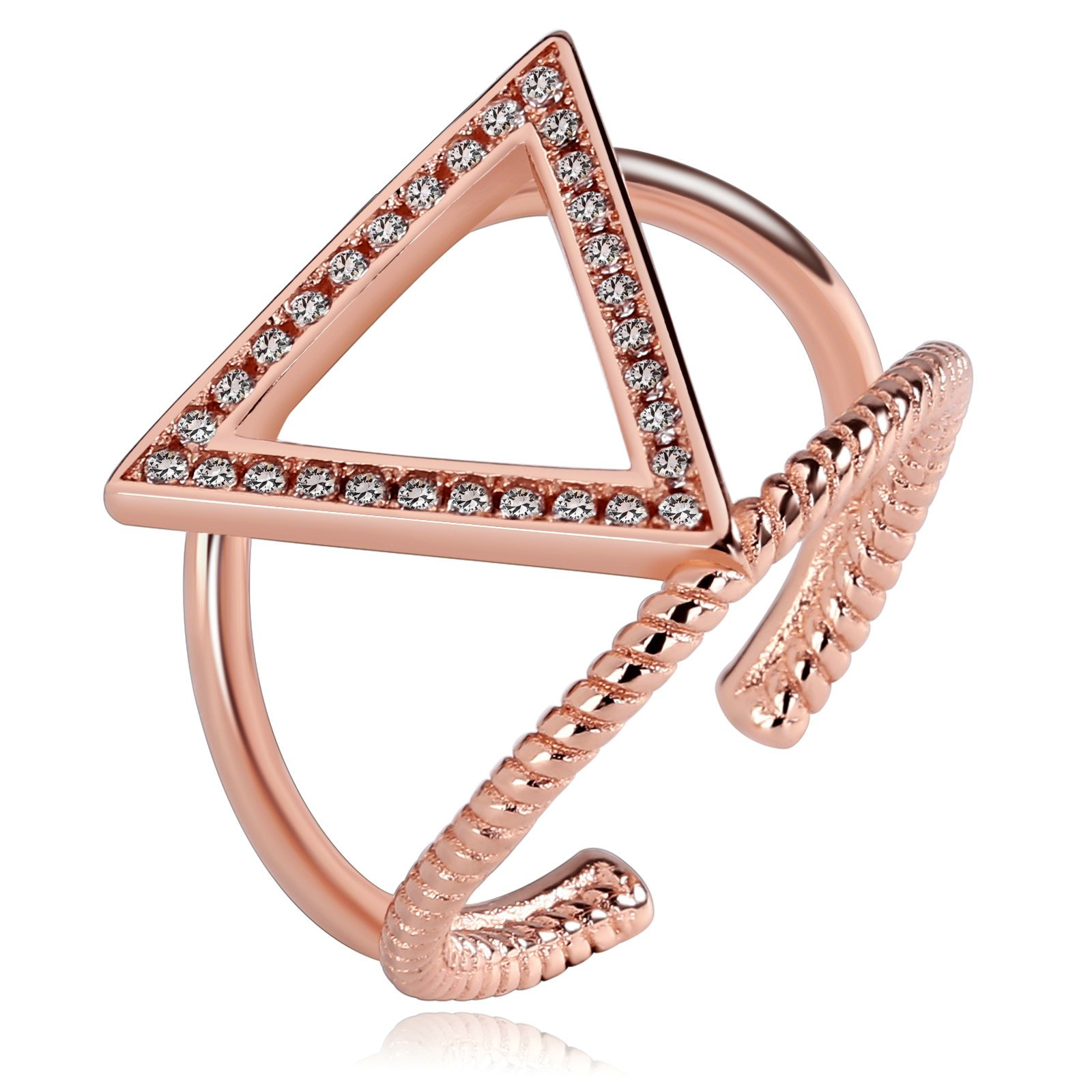 Beydodo Gold Plated Adjustable Rings for Women Minimalist Rings Stackable Rings Triangle CZ Tail Rings