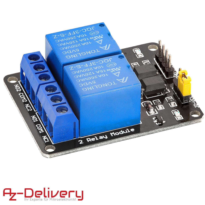 AZDelivery Rele Modulo 2 canales 5V con Optoacoplador Low-Level-Trigger para Arduino con E-Book incluido!