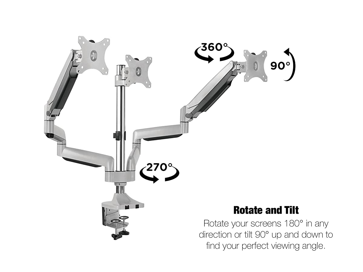 "TechOrbits Three Monitor Stand Mount - SmartSWIVEL - Triple Computer Screen Desk Mount Arms - Full Motion Swivel Articulating Gas Springs - Universal Fit for 13"" - 30"" Screens Vesa Mount"