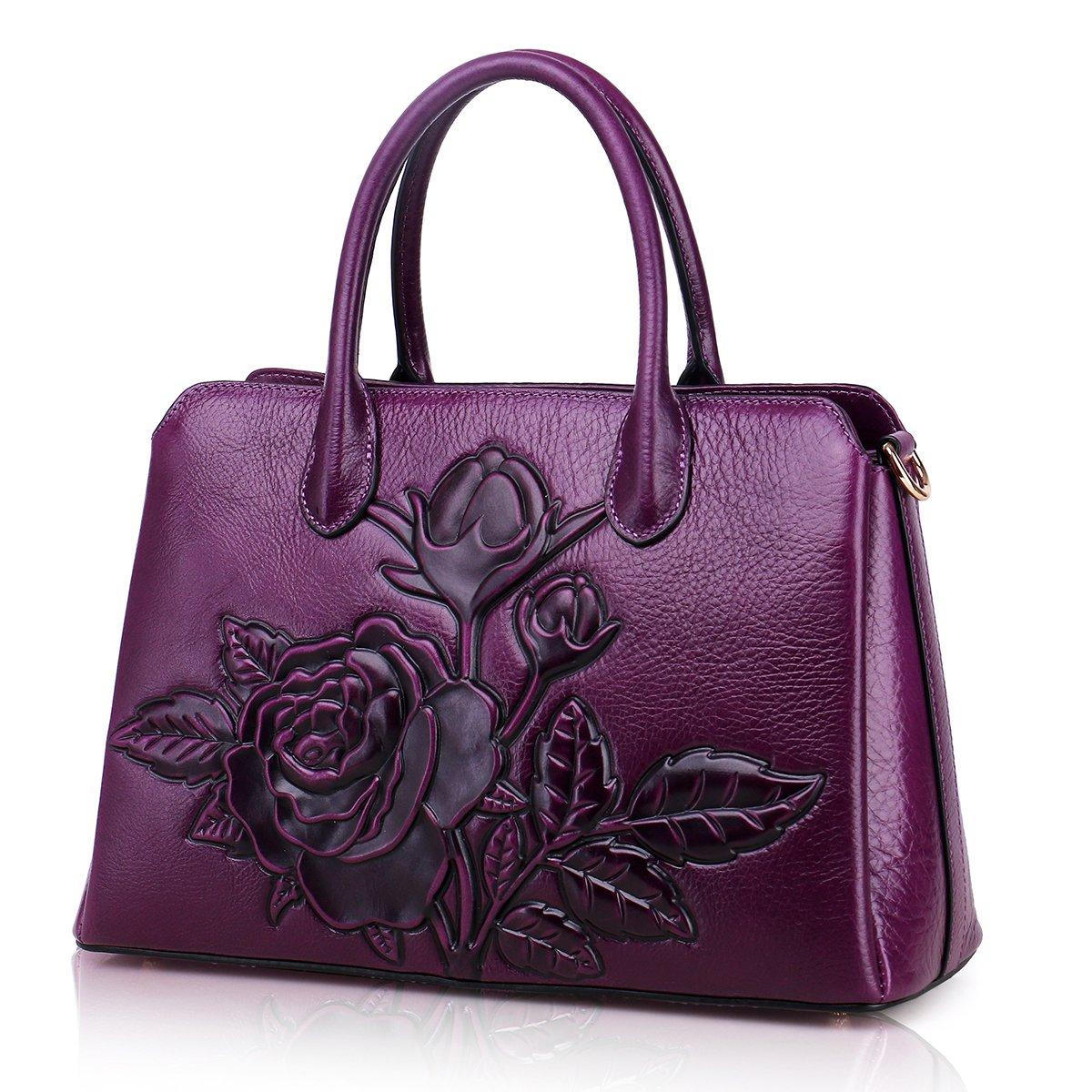 CDM product APHISON Designer Unique Embossed Floral Cowhide Leather Tote Style Ladies Top Handle Bags Handbags big image