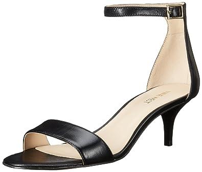 Nine West Women's Leisa Leather Heeled Dress Sandal, Black Leather, ...