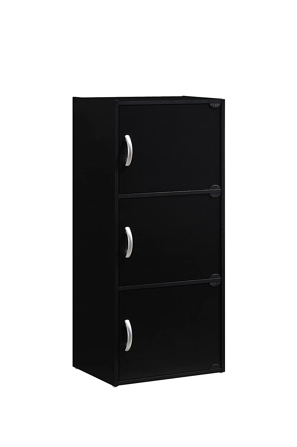 Hodedah 3 Door, Three Shleves, Enclosed Storage Cabinet, Black