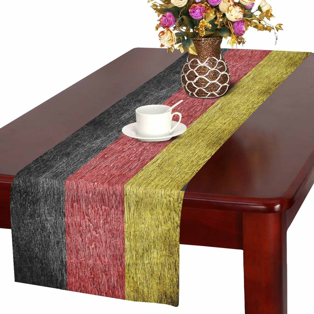 InterestPrint Germany German Flag Painted on Old Wood Table Runner Linen & Cotton Cloth Placemat Home Decor for Wedding Banquet Decoration 16 x 72 Inches