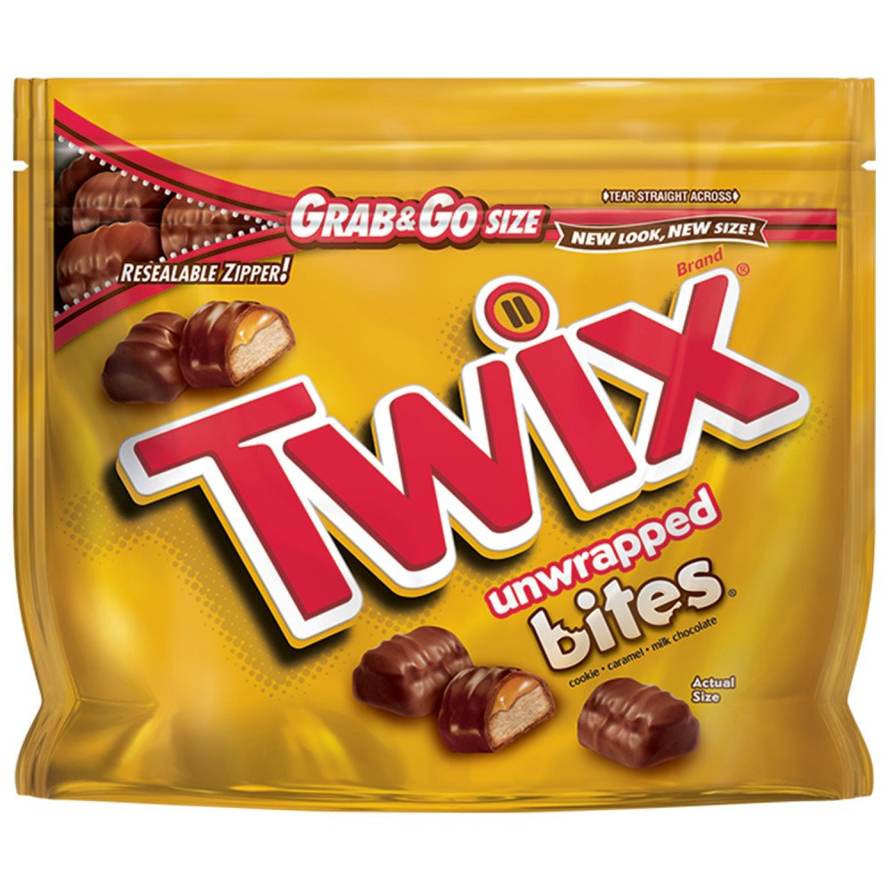 Twix Caramel Bites Size Chocolate Cookie Bar Candy Grab & Go, 4.5 Ounce (Pack of 8)